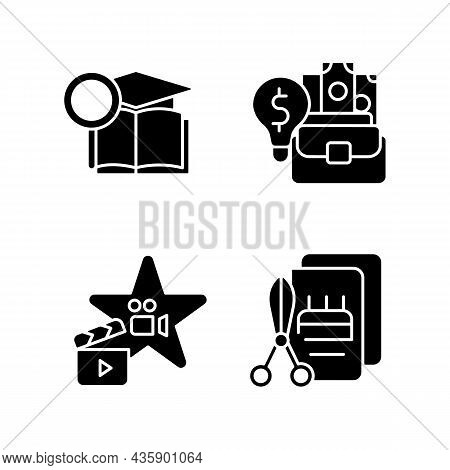 Outstanding Aptitude Black Glyph Icons Set On White Space. Gifted Actor And Craftsman. Academic Rese