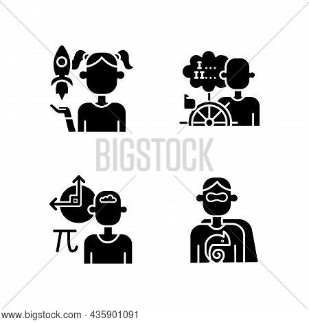 Kids Talents Black Glyph Icons Set On White Space. Personal Development. Creative Talents. Mathemati
