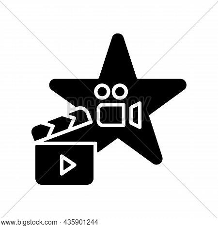Actors Talent Black Glyph Icon. Gifted Actress And Actor. Theater Rehearsal. Movie And Tv Programs M