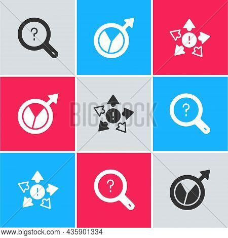 Set Unknown Search, Financial Growth And Many Ways Directional Arrow Icon. Vector