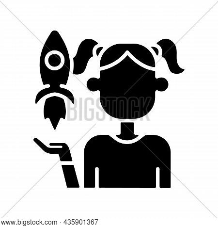 Fostering Kids Creativity Black Glyph Icon. Teach And Encourage Children. Support Child In Hobby And