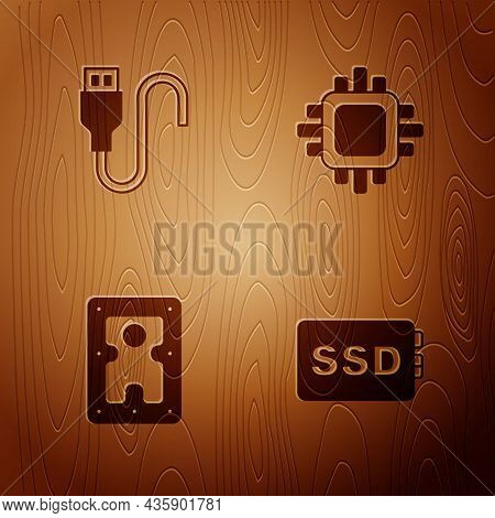 Set Ssd Card, Usb Cable Cord, Hard Disk Drive Hdd And Processor With Cpu On Wooden Background. Vecto