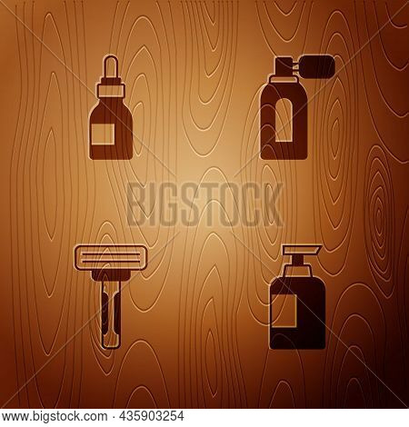 Set Bottle Of Shampoo, Oil Bottle, Shaving Razor And Aftershave With Atomizer On Wooden Background.