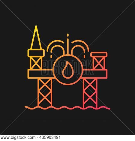 Offshore Drilling Gradient Vector Icon For Dark Theme. Deep-water Energy Project. Singaporean Shipya