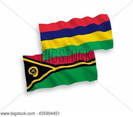 National Fabric Wave Flags Of Republic Of Vanuatu And Republic Of Mauritius Isolated On White Backgr