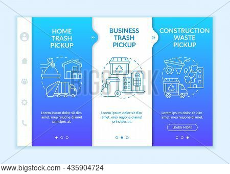 Waste Collection And Pickup Onboarding Vector Template. Responsive Mobile Website With Icons. Web Pa