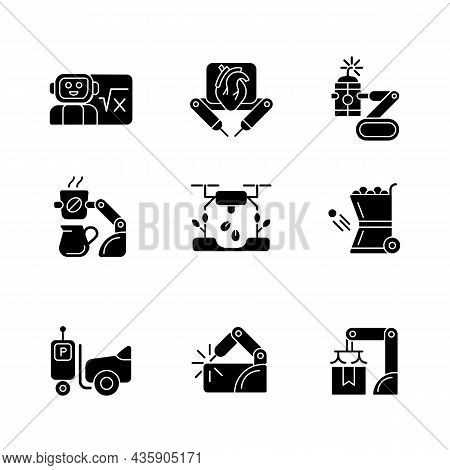 Leading Technologies Black Glyph Icons Set On White Space. Autonomous Robots In Gardening And Cookin
