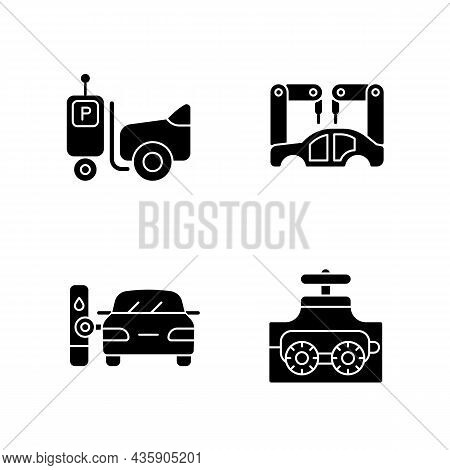 Automation In Automobile Industry Black Glyph Icons Set On White Space. Self-driving Forklift. Assem