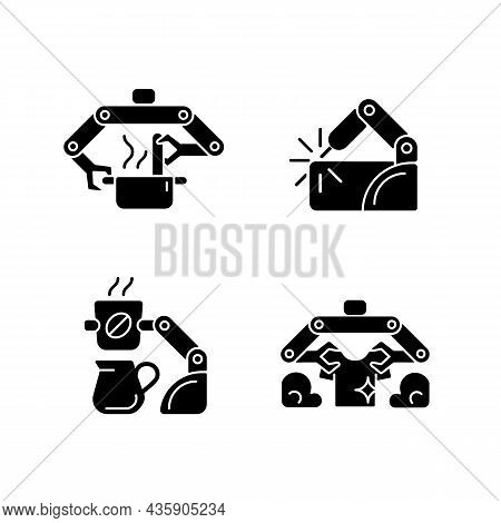 Automated Mechanical Devices Black Glyph Icons Set On White Space. Robotic Kitchen. Welding Robotics