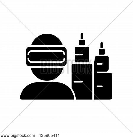 Vr For Project Planning Black Glyph Icon. Virtual Reality Simulation. Computer Technology. Project M