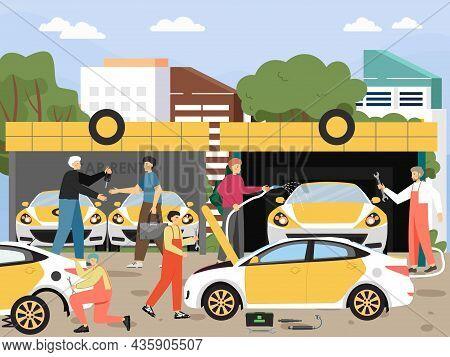 Car Rent, Wash, Tires, Repairs, Auto Mechanic And Maintenance Service, Flat Vector Illustration. Aut