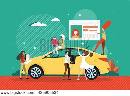 Women Learning Traffic Rules, Passing Exam, Getting Licence, Flat Vector Illustration. Driver Educat