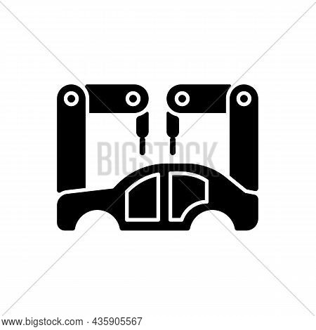 Body-in-white Manufacturing Black Glyph Icon. Assembling Car Body. Manufacturing Stage. Automated Pr