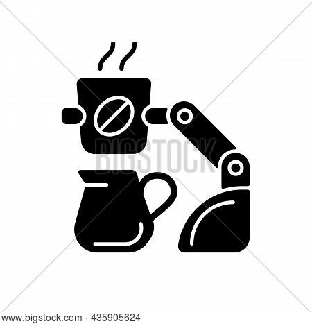 Coffee Making Robot Black Glyph Icon. Robotic Barista. Automated Beverages Brewing. Self-contained K
