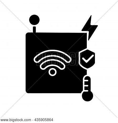 Iot Sensors Black Glyph Icon. Information Transmission Over Wireless Network. Smart Home Security Sy