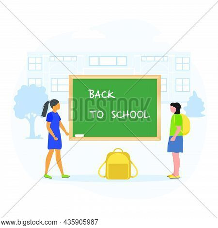 Vector Illustration Children Near Chalkboard. Elementary School Pupils. Schoolgirls Excited To Start