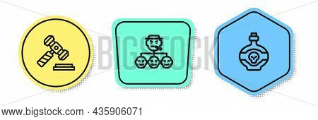 Set Line Judge Gavel, Mafia And Poison In Bottle. Colored Shapes. Vector