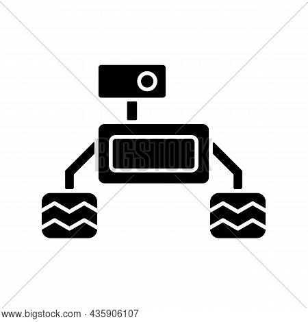 Space Exploration Robot Black Glyph Icon. Collecting Sample For Examination. Robotic Vehicle. Perfor