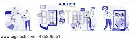 Auction Isolated Set In Flat Design. People Selling And Buying Painting Art, Buyers Bidding Lots Col