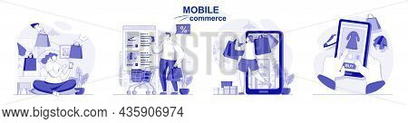 Mobile Commerce Isolated Set In Flat Design. People Shopping In Mobile App, E-commerce, E-business,