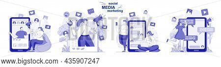Social Media Marketing Isolated Set In Flat Design. People Develop Promotion Strategy, Advertising,
