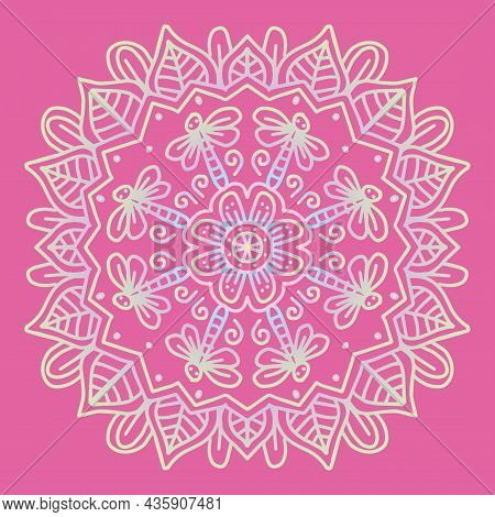 Vector Circle Of Mandala With Dragonfly And Floral Ornament Pattern.