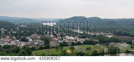 An Aerial View Of The Town Of Northumberland And The Susquehanna River In Pennsylvania.
