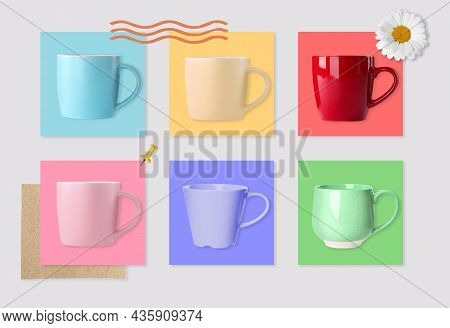 Multicolor Mugs And Cards Of Similar Shades On Light Background, Collage. Montessori Method