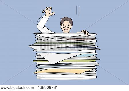 Learning Boy Behind Huge Stack Of Exam Books. Vector Concept Illustration Of Exhausted Student Prepa