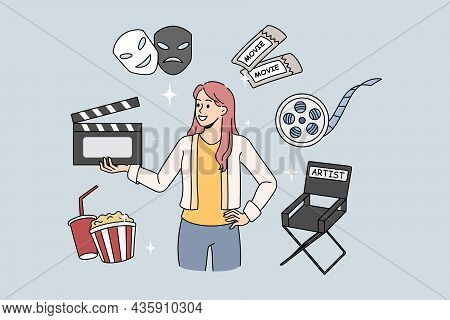 Woman Director Of Movie Production Holding Film Clapper. Vector Concept Illustration With Movie Elem