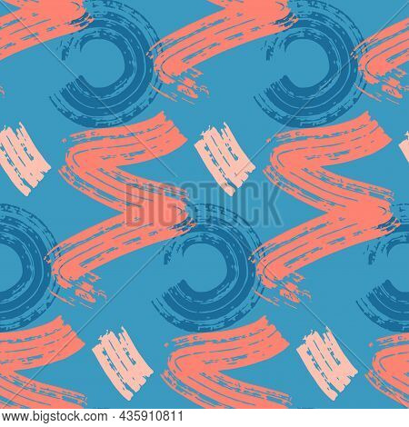 Abstract Seamless Pattern Blue Pink Stain Of Paint. Design For Fabric, Wrapping Paper, Textile, Graf
