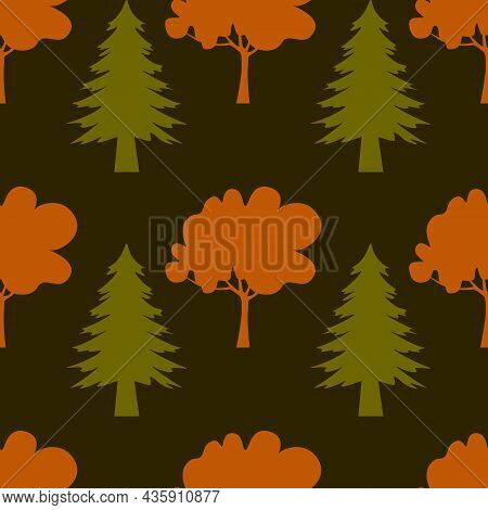 Autumn Seamless Pattern, Green Spruce And Red Deciduous Tree, Autumn Forest, Vector Illustration