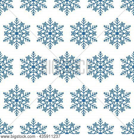 Festive Snowflake Seamless Pattern, Geometric Mandala Snowflake Design Element, Vector Illustration