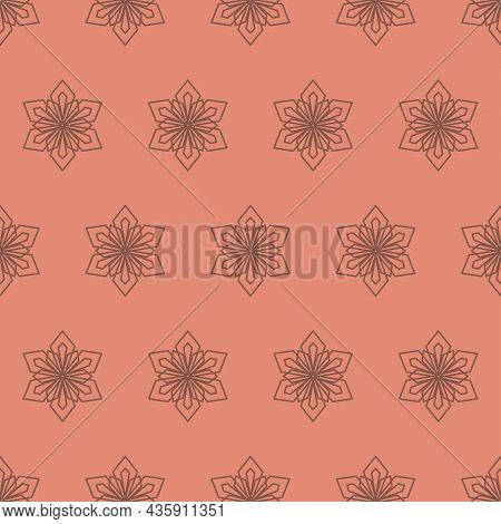 Winter Snowflake Seamless Pattern, Geometric Snowflake Simple Design, Vector Illustration