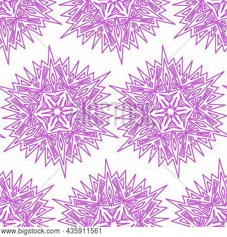 Mandala Snowflake Seamless Pattern, Geometric Simple Design Snowflake Lilac Purple, Vector Illustrat