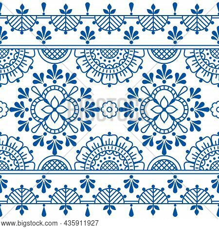 Floral Folk Art Outline Vector Seamless Pattern, Decorative Textile Or Fabric Print Design With Flow