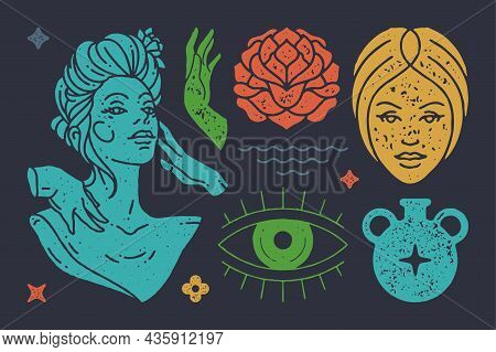 Statue Of Antique Goddess With Boho Hands. Head Of Sad Woman With Blossoming Flower. Vector Colorful