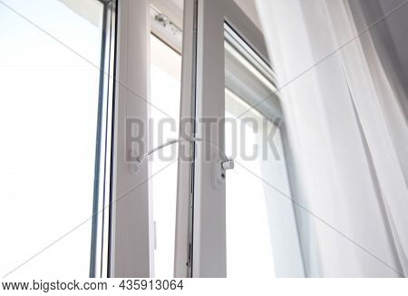 Child Lock On The Windows Of The House, Blocking Device For Opening Windows By Children. Falling Fro