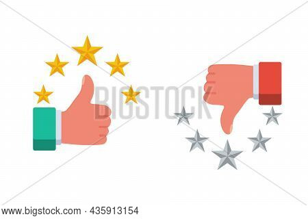 Good And Bad Assessment. Like And Five Stars As A Positive Feedback. Dyslike As A Negative Feedback.