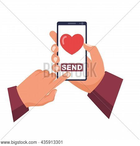Send Charity. Phone In Hand. Send A Heart. Vector Illustration Flat Design. Isolated On White Backgr