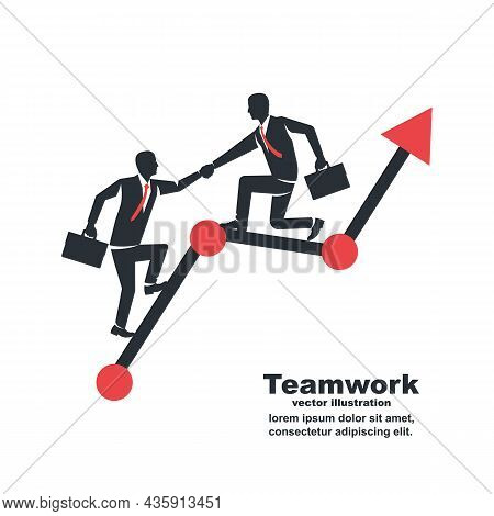 Support And Teamwork. Achieving Goal Together. The Overall Desire For Top. Business Helping Concept.