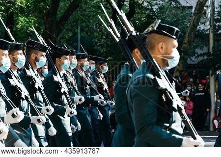 Madrid, Spain - October 12, 2021: Soldiers During Spanish National Day Army Parade In Madrid. Severa