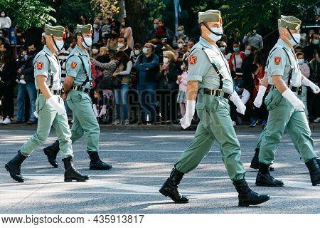 Madrid, Spain - October 12, 2021: Soldiers During Spanish National Day Army Parade In Madrid. Legion