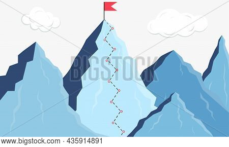 Mountain Climbing. Climber's Route. Business Goal. Climber's Path To The Top. Tourist Travel. Get To