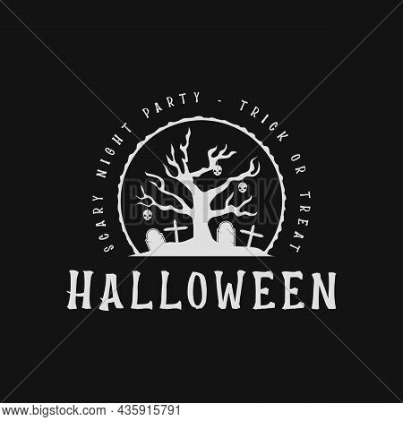 Horror Tree At The Brave Halloween Logo Vintage Vector Illustration Template Icon Design