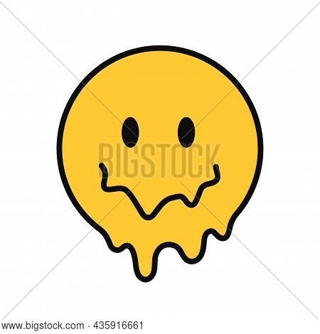 Funny Melt Smile Faces. Vector Hand Drawn Doodle Cartoon Character Illustration. Isolated Ob White B