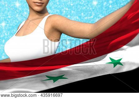 Beautiful Girl Is Holding Syrian Arab Republic Flag In Front Of Her On The Light Blue Shining Sparks