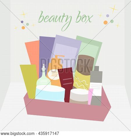Beauty Box. Cream, Tonic, Cosmetics,face Mask, Facial Care. Vector Illustration In Flat Style Can Be