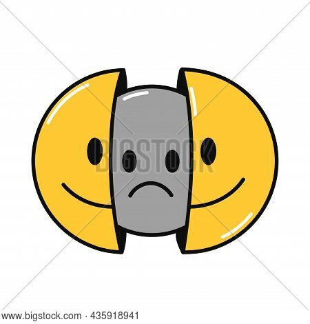 Two Half Of Smile Face With Sad Face Inside. Vector Hand Drawn Doodle Cartoon Character Illustration