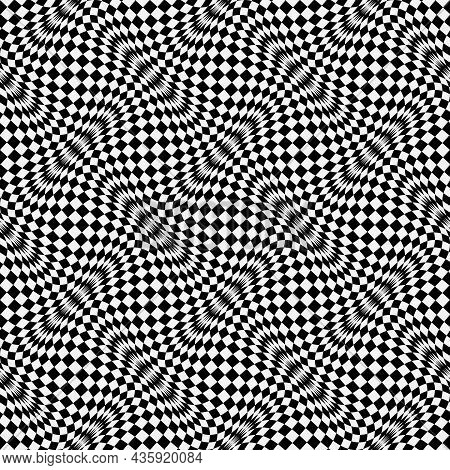 Optical Illusion Distorted Black And White Checkered Seamless Pattern. Psychedelic Wavy Monochrome R